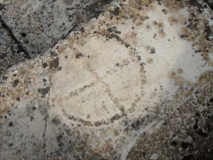 The equal armed cross, circled - carved into the remains of the Temple of Hekate at Lagina (modern day Turkey)