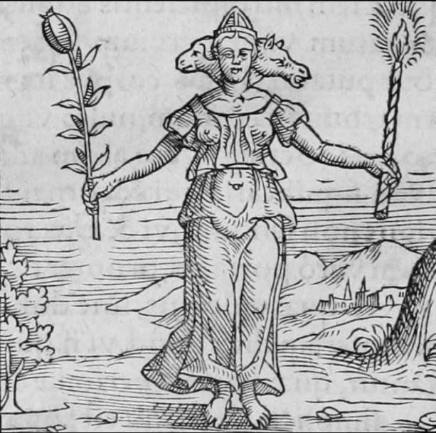 Image of the Goddess Hekate - Shown with three heads (including that of animals) and instead of torches, she is holding herbs. Symbol of a Covenant of Hekate Sanctuary.